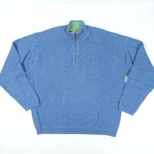 Blue Cotton 1/4 Zip Up Sweater Men
